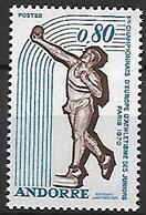 ANDORRE    -   1970  .  Y&T N° 205 **.   Championnats D' Europe D' Athlétisme  /  Lancement Du Poids. - Unused Stamps