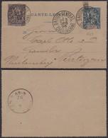 """Colonies Françaises - Indochine E.P. Carte Lettre N°1 + Yvert N°7 De """" Saigon Central """"vers Allemagne (6G18538) DC 0823 - Indochina (1889-1945)"""