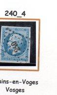 Fance : Petit Chiffre N° 240 : Bains En Vosges  ( Vosges) Indice 4 - Marcophily (detached Stamps)