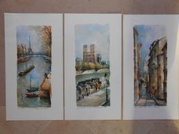 Delarue- 3 Reproductions PARIS 543 Rue St Rustique,547 N.D. Et Les Bouquinistes, 545Tour Eiffel Et Seine - Other Collections