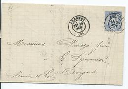 N° YT 78  Sur Lettre De Annonay Pour  Angers 1878 - Marcophilie (Lettres)