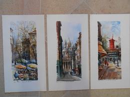 Delarue- 3 Reproductions PARIS- 541 Place Du Tertre,542 Le Sacré Coeur, 544 Le Moulin Rouge - Other Collections