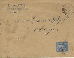 Y&t 90 Saint-pons,herault-eugene Azais Avoué Vers Olargues.1886-avec Correspondance - 1876-1898 Sage (Type II)