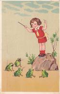 698/ Getekende Kaart, Kind Dirigeert Kikkers 1926 - Animaux & Faune