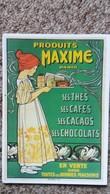 CPM PUBLICITE BOISSONPRODUITS MAXIME THES CAFES CACAOS CHOCOLATS FILLETTE ART NOUVEAU  CARTEXPO PARIS 10548 - Publicité