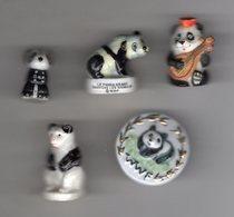 LOT 5 Fèves  OURS PANDA De Différentes Séries - Animals