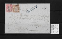 1854-1862 SITZENDE HELVETIA Ungezähnt (Strubel)  → Chargé Brief Stempel Wyl ►SBK-24B & 22B / B1◄ - 1854-1862 Helvetia (Non-dentelés)