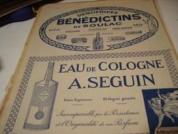 ANCIENNE PUBLICITE  DENTIFRICE BENEDICTINS ET EAU DE COLOGNE A.SEGUIN  1922 - Other