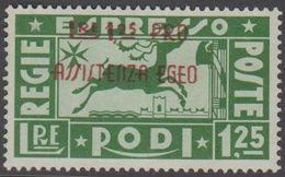 1943. RODI. Lire 1,25 PRO ASSISTENZA EGEO.  (Michel 211) - JF141032 - Ägäis (Rodi)