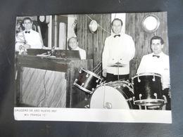7b) 1957 MOTONAVE FRANCA COSTA FOTOGRAFIA GRUPPO MUSICISTI 17 X 12 Cm - Barche