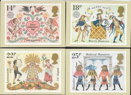 INGHILTERRA - FOLKLORE  ( MEDIEVAL MUMMERS) 1981 - 4 CARTOLINE  - EDIT. HOUSE OF QUESTA - NUOVE - Francobolli (rappresentazioni)