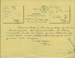 BUREAU DE DEPECHE OFFICIELLE OU DE SERVICE -AVIGNON 1872 -CAD ONDULE  LA REOLE AOUT 1872 - Poststempel (Briefe)