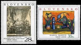 Slovakia 2005 Mi 523-524 Art - Rembrandt Van Rijn: Supper At Emmaus, Karol Baron: Magic Of Still Life Paintings V – 1972 - Eslovaquia
