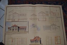 LOT  DESSINS ET PLANS D ARCHITECTURES ANCIENS DEBUT 20É MAISON ECOLE MAIRIE - Architecture