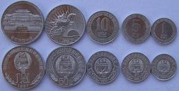 NORD COREA KOREA SERIE 5 MONETE 50-10-5-1 CHON  + 1 WON DA ROTOLINO FDC UNC - Corea Del Norte