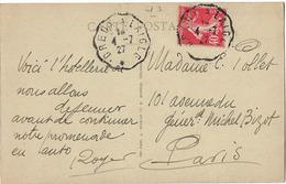 CONVOYEUR DREUX LAIGLE 1927 EURE ET LOIRE ORNE CPA TILLIERES SUR AVRE HOSTELLERIE BOIS JOLY - Railway Post