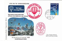 VOL BALLON   CHATEAU-D'OEX   1988 - Poste Aérienne