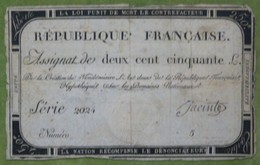 Assignat 250 Livres émission Du 7 Vendémiare An II Cf Lafaurie N°170 Signé JACINTE - Assignats & Mandats Territoriaux