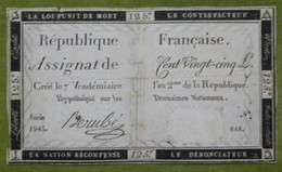 Assignat 125 Livres émission Du 7 Vendémiare An II Cf Lafaurie N°169 Signé BERUBE - Assignats & Mandats Territoriaux