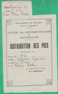 Distribution De Prix -Lycée De Jeunes Filles De Montpellier - 2e Prix Latin - La Directrice M. K. Hartmann - Diplômes & Bulletins Scolaires