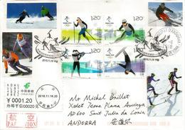 Les XXIVème Jeux Olympiques D'hiver; 2022 BEIJING. Lettre De Beijing Adressée Andorra, Avec Timbre à Date Arrivée - Winter 2022: Beijing
