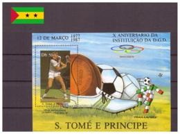 Sao Tome Et Principe 1987 - Oblitéré - Tennis - Michel Nr. Bloc 171 (stp022) - Sao Tome Et Principe