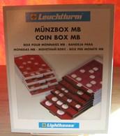 Leuchtturm - BOX MONNAIES 48 Cases Carrées Fond Rouge (30 Mm) - Matériel