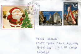 Špancirfest Festival Varaždin, Christmas Letter From Croatia Sent To Andorra, With Arrival Postmark - Croatie