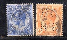 W483 - STRAITS SETTLEMENTS ,2 Valori Usati Perfins - Straits Settlements
