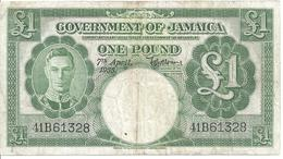 JAMAICA KGVI £1 1955 P41b Scarce Note - Jamaica
