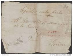 O)1840 ECUADOR PREPHILATELIC -PRESTAMP, QUITO FRANCA IN RED  JUDICIARY FRONT. - Ecuador
