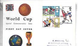1966-ENVELOPPE GB-1e JOUR-FOOT 1966-WORLD CUP-en ANGLETERRE- Sous Pochette Scellée-TBE - Service