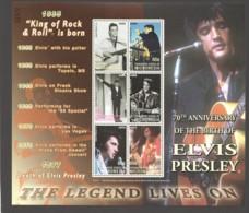 Elvis Presley  70th Birth Anniv.  Micronesia  Souvenir Sheet Of 6  MNH - Elvis Presley