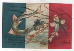 CPA -  Cartes Illustrateur -  1er Avril - Poisson - Gaufrée - 1er Avril - Poisson D'avril