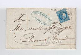 Sur Pli Avec Correspondance Type Céres 20 C. Bleu CAD Roanne 1871. (891) - Postmark Collection (Covers)