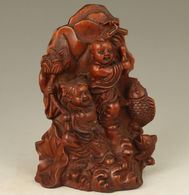 Antique-Chinois-Vieux-buis-sculpte-a-la-main-apporte Chance Poisson-Statue - Asian Art