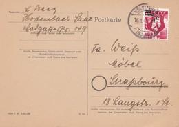 CARD CIRCULEE 1948  SAAR TIMBRE EN ROUGE- BLEUP - 1947-56 Gealieerde Bezetting