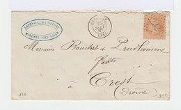 Sur Enveloppe Type Napoléon III 40 C Orange Oblitération Losange. CAD Maromme. (893) - Marcophilie (Lettres)