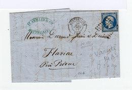 Sur Pli Avec Courrier Type Napoléon III Non Lauré 20 C. Bleu Obliter. Losange. CAD Montpellier 1857. (894) - Postmark Collection (Covers)