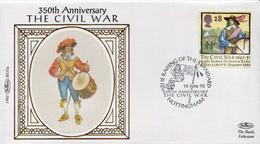 Great Britain Civil War Set On 4 Benham Silk FDCs - Other