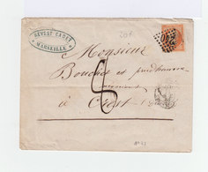 Sur Enveloppe Napoléon III 40 C. Orange Oblit. Losange. CAD 1860. Oblitération Manuelle. (895) - Marcophilie (Lettres)