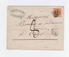 Sur Enveloppe Napoléon III 40 C. Orange Oblit. Losange. CAD 1860. Oblitération Manuelle. (895) - Postmark Collection (Covers)