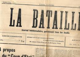 Tunisie. La Bataille (Tunis)  16 Au 22/2/1911  (= 1 N°) - Journaux - Quotidiens
