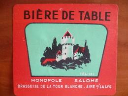 Ancienne étiquette Brasserie De La Tour Blanche Monopole Salomé  A AIRE SUR LA LYS - Bière