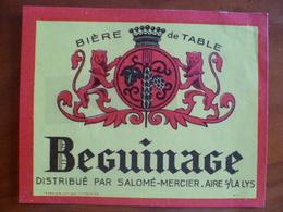 Ancienne étiquette Brasserie  Salomé Mercier A AIRE SUR LA LYS Beguinage - Bière
