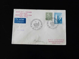 FIRST FLIGHT   HELSINKI - MOSCOU  -  1956  - - Airmail
