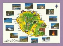 0151- CPM - ILE DE LA REUNION - OCEAN INDIEN - Multivue - Carte Géographiques & 14 Vues De L'île -1 - Réunion