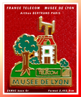 SUPER PIN'S FRANCE TELECOM - Arthus BERTRAND : Le MUSEE DE LYON En ZAMAC Base Or, Format 2,4X2,8cm - France Telecom