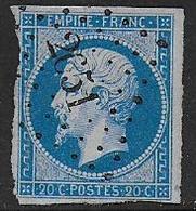 Napoléon N° 14Ae - Bleu Sur Lilas  - Cote : 80 € - Obl. PC 2651 De RENWEZ ( Ardennes ) - 1853-1860 Napoléon III