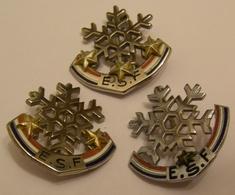LOT DE 3 BROCHES ESF 1 2 Et 3 ETOILES SIGNEES DECAT Et MOUTEREAU No Pin Pin's Pins - Winter Sports